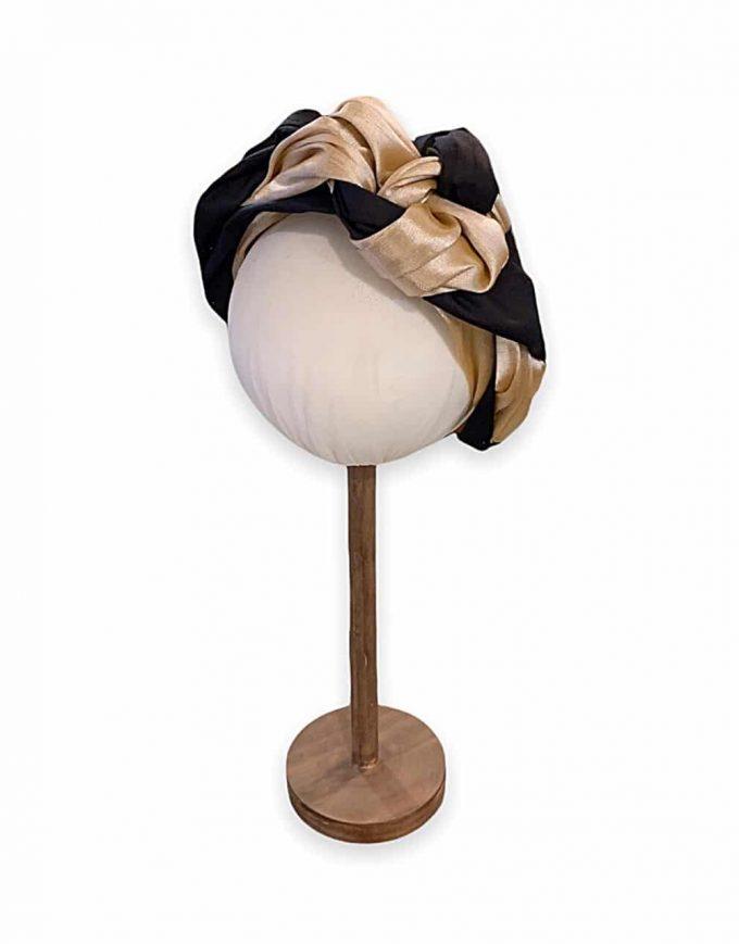 Bicolor turban by Le Voilà detail - REF. TUR104 Available in our online shop