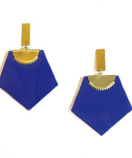 Pendientes pentágono azul