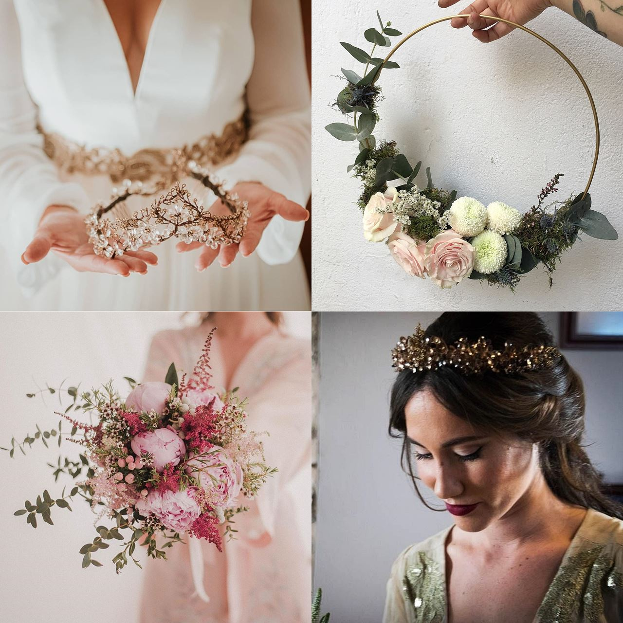 Wedding headdresses and bouquets